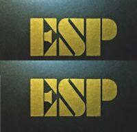 ESP Guitar Headstock Logo, Die-Cut Decal, Luthier, Metal Flake Gold, LOT x2 OEM
