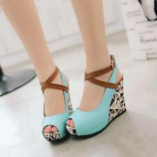 Women's Ladies Ankle Straps Heels Floral Print Wedges Platform Sandals Shoes New