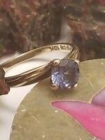 10kt Yellow Gold Ring Size 6.5 Birthstone December Blue Topaz Scrap Wear 2.2 gr.