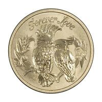 Tuvalu 2014 Romance Forever Love Birds $1 Dollar UNC Coin Carded