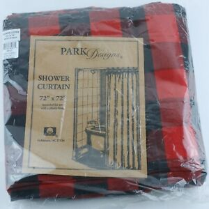 Buffalo Check Bear Shower Curtain Bathroom by Park Designs Red Black Damage