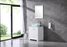 "24"" PVC Bathroom Vanity Cabinet w/Mirror Single Ceramic Vessel Sink Faucet White"