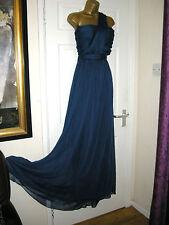 12 TALL NAVY MAXI DRESS BANDEAU  STRAP CHIFFON 20S 30'S WEDDING VINTAGE GATSBY