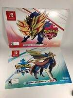 """Lot of 2 Pokemon Sword & Shield Promotional Display Poster 26"""" x 18"""" w/ Date"""