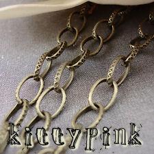 1 Metre Antique Bronze 8x5mm Patterned Belcher Chain