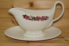 """Wedgwood Briar Rose Gravy Boat or Sauce Bowl with Undersplate, 2 pieces, 9"""""""