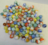 #12380m Vintage Group or Bulk Lot of 100 Peltier Glass Marbles .60 to .69 Inches