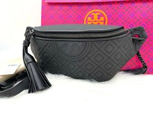 AUTH NWT Tory Burch Women's Fleming Matte Quilted Leather Belt Bag In Black