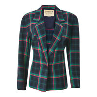 JAEGER Women's Blazer Jacket Oxford Check Pattern Green Colored Button Authentic