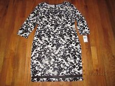 NWT RABBIT DESIGNS WOMEN'S BLACK & WHITE ABSTRACT PRINT PULLOVER DRESS SIZE 12