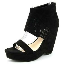 Bar III Womens Siren Platform Ankle Cuff Wedge Suede Sandals Black Color 6M