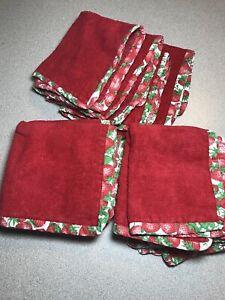 10 Vintage Strawberry Red Terrycloth Fabric Washcloths Handmade Bathroom Decor