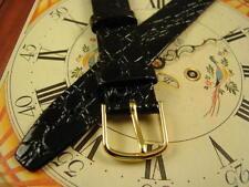 John Weitz original - NOS Gloss Black CROCODILE GRAIN 18mm LONG Mens Watch Band