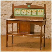 Shapland & Petter, Barnstaple Arts Crafts Oak Marble and Tile Wash Stand