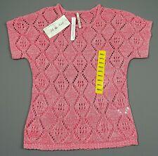 Leo & Nicole Ladies Short Sleeve Top Open Knit Tunic Pink - Size S