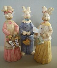 Set of 3 Resin Bunny Figures Wearing Outfits & Made to Look Like Carved Wood