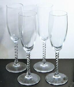 Champagne Flutes Clear Glass Twisted Stem Cris D'Arques Angelique Set 4