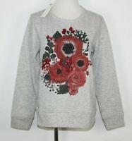ESPRIT Damen Sweatshirt Pullover Blumenmotiv grau meliert