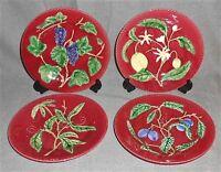 Set (4) Majolica BORDALLO PINHEIRO Raised/Textured FRUIT PLATES Portugal
