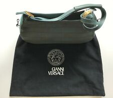 Gianni Versace Bag, Vintage Bag, Aqua, Leather & Fabric, in Very Good Condition