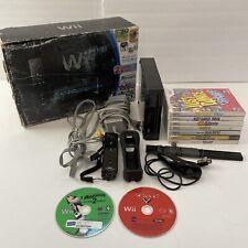 Nintendo Wii Black Console W/ 9 Games + Accessories