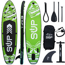 Standup Paddle Stand Board SUP Set Paddling Surfboard Aufblasbar Paddel Grün