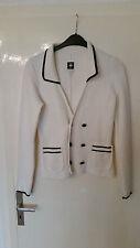 Original G-Star Blazer aus Baumwolle in weiß mit marine-blauen Rändern, Gr. M