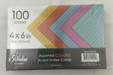Ischolar Index Cards Assorted Colored Ruled 4 X 6 100 Card Pack 04616 Pack