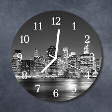 Glass Wall Clock Kitchen Clocks 30 cm round silent Skyline Grey