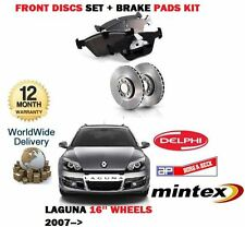 FOR RENAULT LAGUNA 1.5 DCi  2007-> FRONT 16'' BRAKE DISCS SET AND DISC PADS KIT