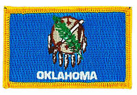 FLAG PATCH PATCHES Oklahoma IRON ON EMBROIDERED UNITED STATES USA STATE