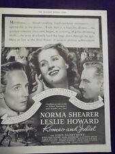 1936 Romeo & Juliet Norma Shearer Leslie Howard John Barrymore Advertisement