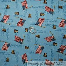 BonEful FABRIC FQ Cotton Quilt Blue Red White Star Flag US American Liberty Bell