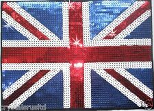 Grand 10inch UK Union Jack Drapeau 5mm sequin thermocollants Vêtement T-shirt Transfert patch