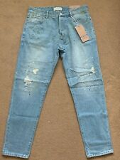 """NEXT Men's Slim Tapered Blue Painted Ripped Repaired Jeans, 34R, W34"""" L31"""", £45"""