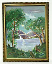 Acrylic Painting Outdoor Scene Lake Deer Rose Marie Siebenhausen Frame No Glass