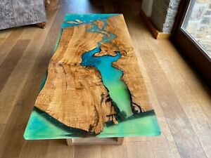 Oak with Blue-Green River Delta epoxy resin live edge coffee table square legs