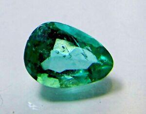 0.435 Carat Pear Cut Rich Green Color Natural Colombian Emerald Teardrop