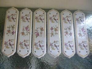 Vintage Bird of Paradise x6 Ceramic Finger Plates for Doors