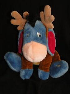"""New 2001 Disney Store Winnie the Pooh 12"""" Reindeer Talking EEYORE Plush Teddy"""