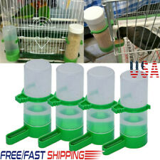 4x Plastic Feeder For Aviary Green Pet Bird Drinker Automatic Water Bottle Clip