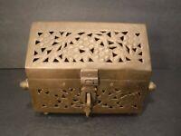 Vintage Collectible Brass Trinket / Storage Box Flip Lid Brass Side Handles