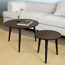 SoBuy® 2 Pieces Nesting Tables,Round Wooden Side Table,Coffee Table,FBT40-BR,UK