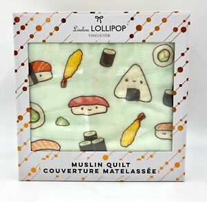 Baby Loulou Lollipop Bamboo Muslin Quilt Blanket  - smiling Sushi Pattern