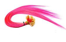 20 Remy Echthaar Strähnen Haarverlängerung 45cm Hairextensions glatt color pink
