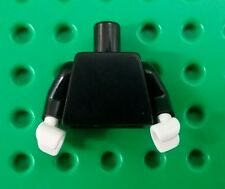 *NEW* Lego All Black Plain Torso Arms Body White Hands Minifigs Figure Fig x 1
