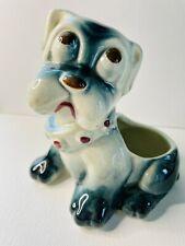 Vintage Puppy Dog Planter Vase w/ Big Brown Sad Eyes 6�Lx6�W Adorable
