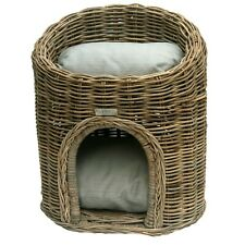 Two Tier Wicker Pet Bed or Cat Basket Pod House