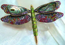 JOAN RIVERS UNWORN LARGE DRAGONFLY  CRYSTAL ABALONE BROOCH GORGEOUS