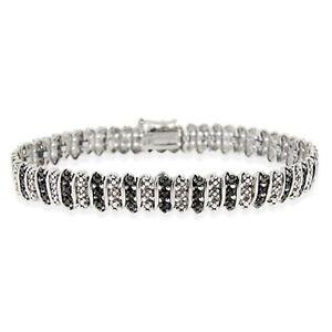 925 Sterling Silver Treated Black Diamond Accent Tennis Bracelet